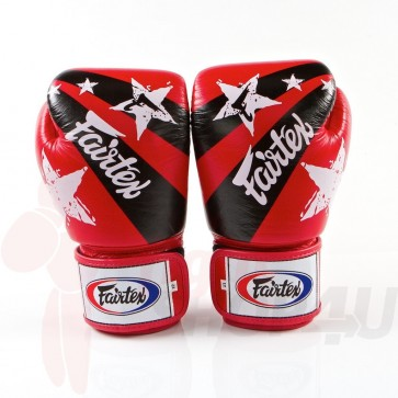 Fairtex (kick)bokshandschoenen Nation Print Rood 10oz