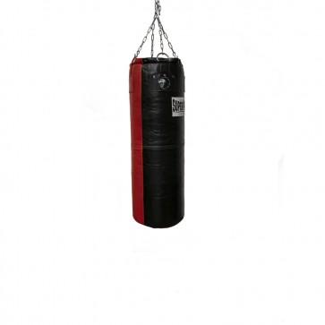 Super Pro Leather Punch Bag Split Zwart/Rood 122x35 cm