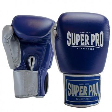 Super Pro Lederen (thai)bokshandschoenen Enforcer Blauw/Zilver/Wit