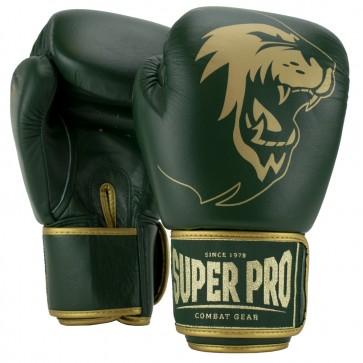 Super Pro Combat Gear Warrior SE Lederen (kick)bokshandschoenen Groen/Goud