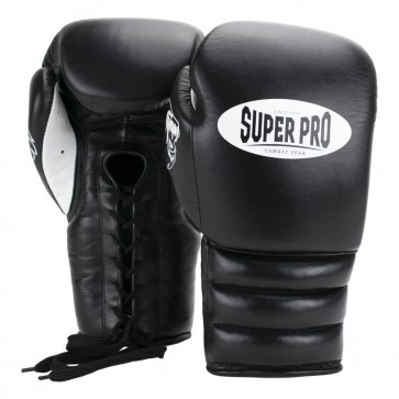 Super Pro Combat Gear Knock Out Bokshandschoenen Veter Zwart/Wit