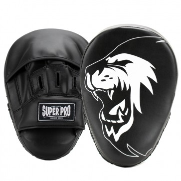 Super Pro Combat Gear Handpads Curved PU Zwart/Wit