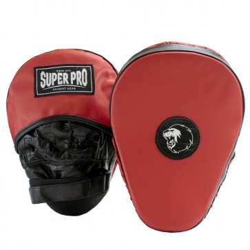 Super Pro Lederen Gebogen Hook and Jab Pad Zwart/Rood