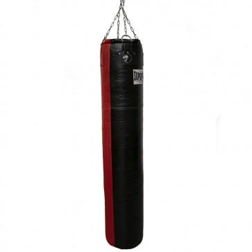 Super Pro Leather Punch Bag Split Zwart/Rood 183x35 cm