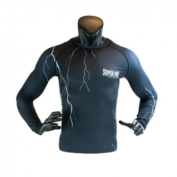 Super Pro Combat Gear Compression Shirt Long Sleeve Thunder Zwart/Grijs