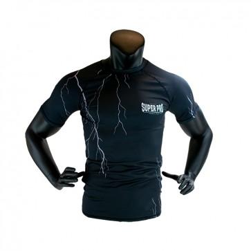 Super Pro Combat Gear Compression Shirt Short Sleeve Thunder Zwart/Grijs