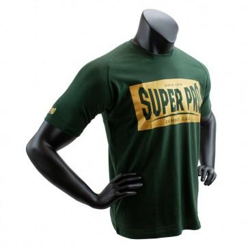 Super Pro T-Shirt S.P. Block-Logo Groen/Goud