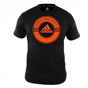 adidas T-Shirt Combat Sports Zwart/Oranje Extra Small