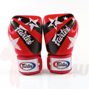 Fairtex (kick)bokshandschoenen Nation Print Rood 12oz