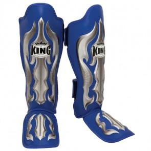 King lederen Fantasy scheenbeschermers blauw/zilver