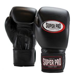 Super Pro Combat Gear Thai-Pro Lederen (Thai)bokshandschoenen Zwart