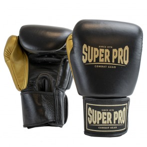 Super Pro Lederen (thai)bokshandschoenen Enforcer Zwart/Goud