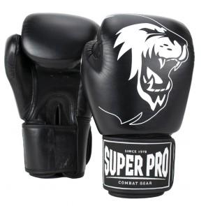 Super Pro Combat Gear Warrior Lederen (kick)bokshandschoenen Zwart/Wit