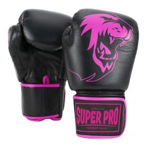 Super Pro Combat Gear Warrior Lederen (kick)bokshandschoenen Zwart/Roze
