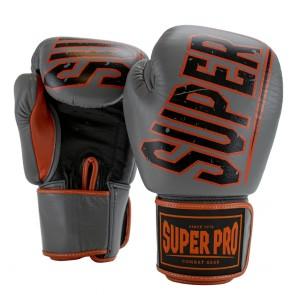 Super Pro Combat Gear Challenger Lederen (Thai)bokshandschoenen Grijs/Oranje/Zwart
