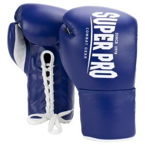 Super Pro Combat Gear Winner Wedstrijdhandschoenen Veter Blauw/Wit