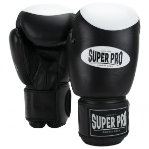 Super Pro Combat Gear Boxer Pro Bokshandschoenen Klittenband Zwart/Wit