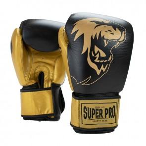 Super Pro Combat Gear Undisputed Bokszakhandschoenen Leder Zwart/Goud (Handschoenen)