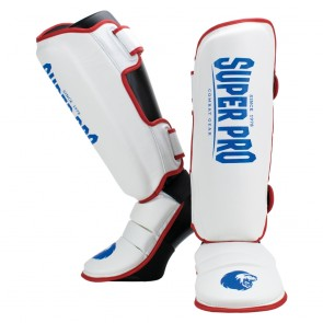 Super Pro Combat Gear Scheenbeschermer Protector Rood/Wit/Blauw