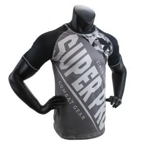 Super Pro Combat Gear T-Shirt Sublimatie Camo Zwart/Grijs/Wit