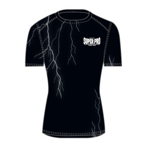 Super Pro Combat Gear Compression Shirt Short Sleeve Thunder Zwart/Grijs