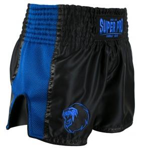 Super Pro Combat Gear Thai en Kickboksshort Brave Zwart/Blauw