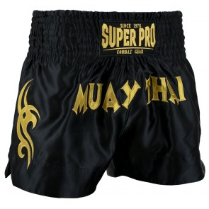 Super Pro Combat Gear Thaiboksshort Fighter Zwart/Goud