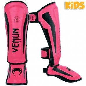 Venum Junior Scheenbeschermers Elite Zwart/Roze Medium