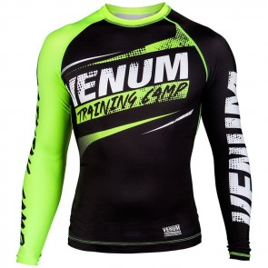 Venum Rashguard Longsleeve Training Camp Zwart/Lime